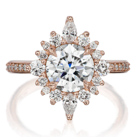 <center><strong>・ZAHRA・</strong><br></center>Moissanite Center, Diamond Halo (2.09ctw, Ready to Ship)