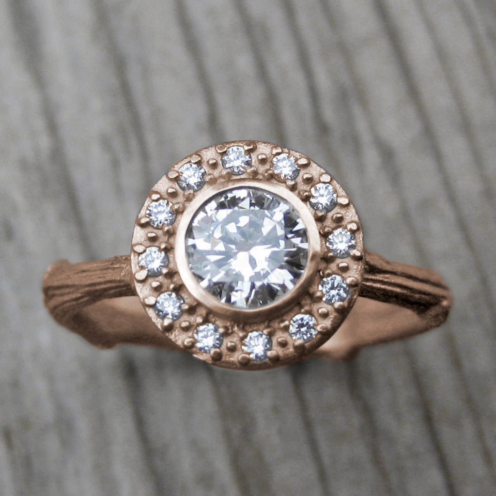 <center><strong>・AZALEA・</strong><br></center> Moissanite Center, Diamond Halo Twig Ring