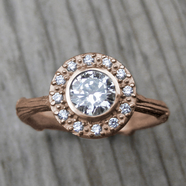 AZALEAムMoissanite Center Diamond Halo Twig Ring Kristin