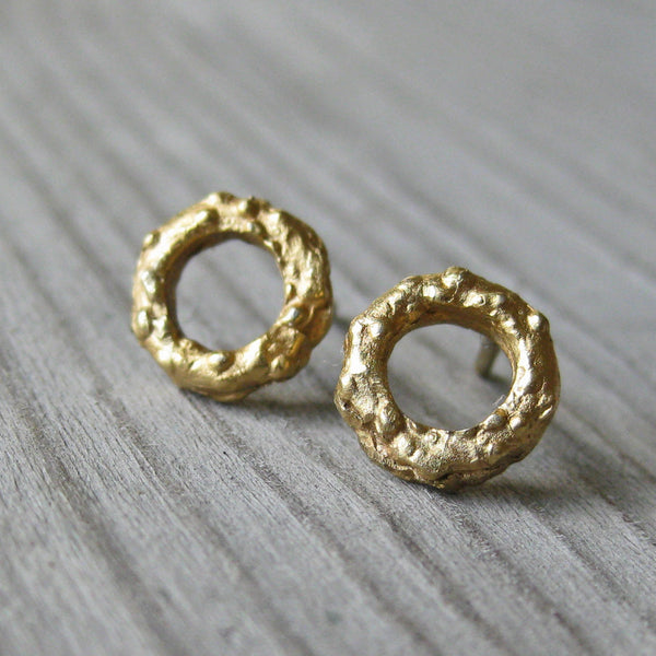 Petite Twig Circle Stud Earrings (White, Rose, or Yellow Gold)