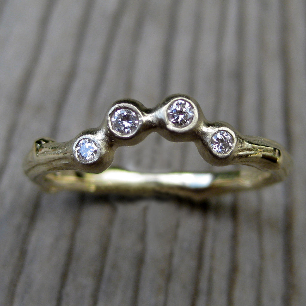 Diamond Pebble Arc Twig Wedding Band | Kristin Coffin Jewelry