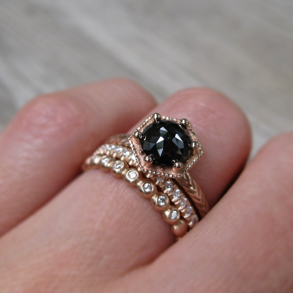 Black Rose Cut Diamond Feather Ring, Hexagon Setting (1.26ct)