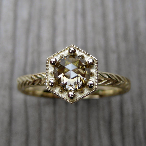 <center><strong>・ASTER・</strong><br></center> Champagne Rose Cut Diamond Feather Ring (.55ct, Ready to Ship)