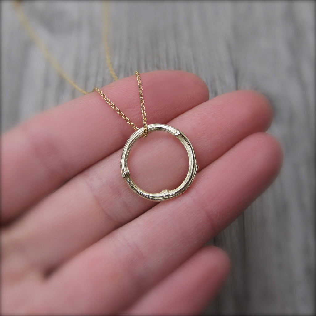 Twig Circle Necklace, Recycled Gold | Kristin Coffin Jewelry