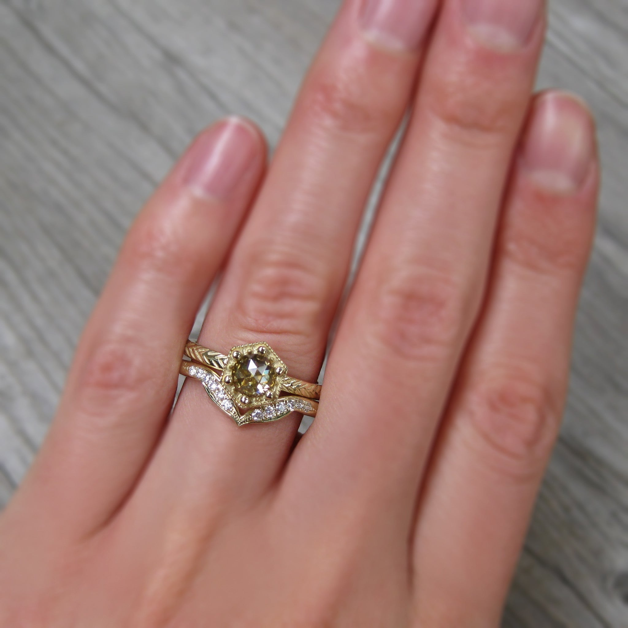 Rose Cut Champagne Diamond Hexagon Feather Ring - Kristin Coffin Jewelry