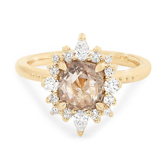 rose cut champagne diamond burst halo ring in 14k, 18k, or platinum
