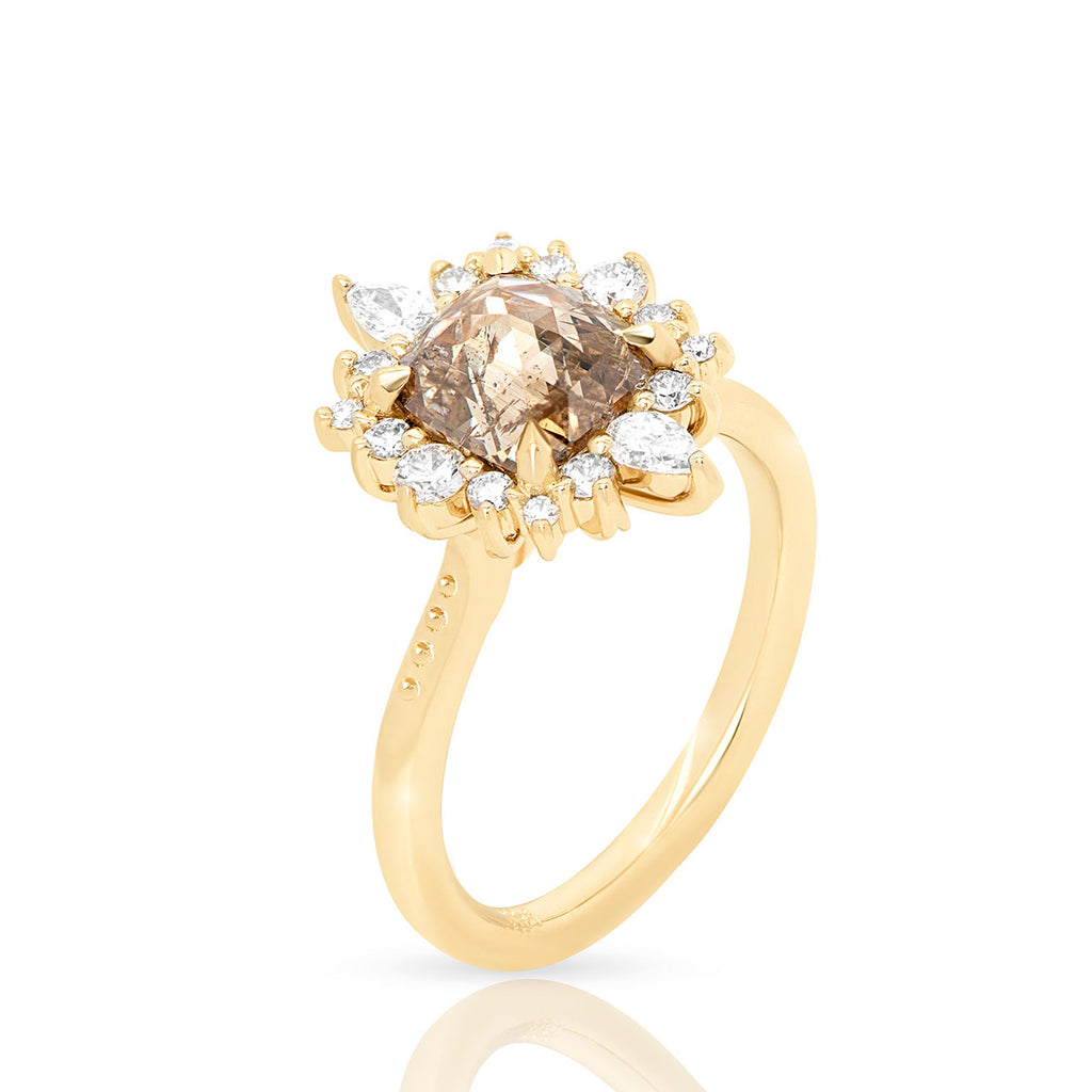 1.5ct rose cut champagne diamond halo engagement ring