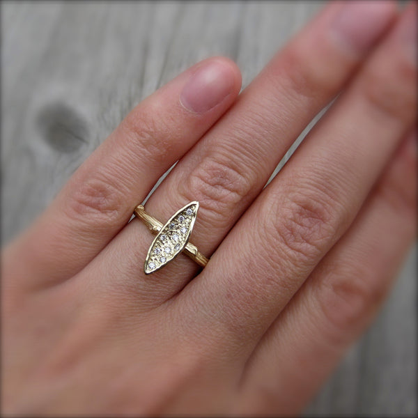 Diamond Leaf Engagement Ring (Ready to Ship)