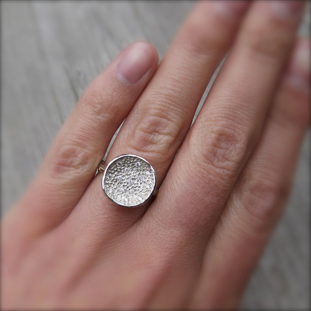 <center><strong>・ORBIT RING・</strong><br></center> Fourteen Diamonds, Twig Band (Ready to Ship, size 6.75)