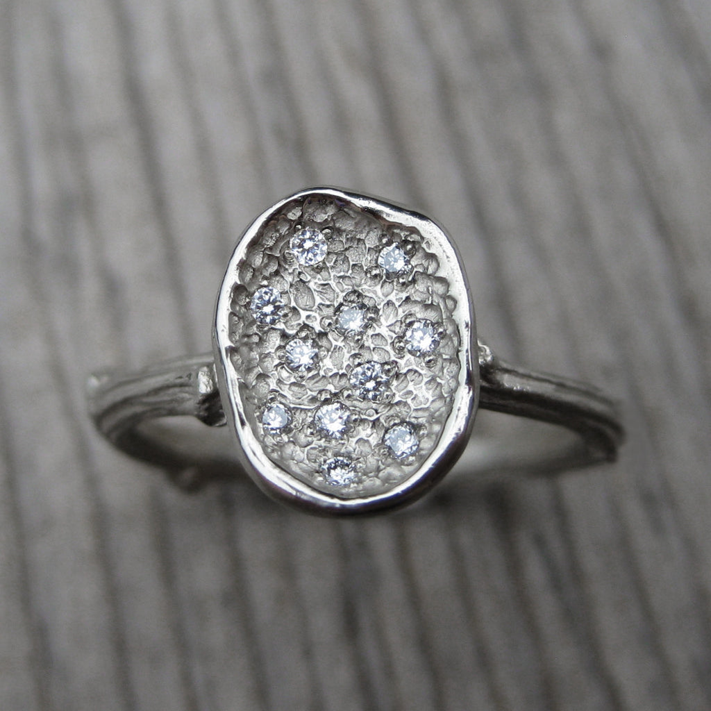Diamond Petal Engagement Ring (Ready to Ship)