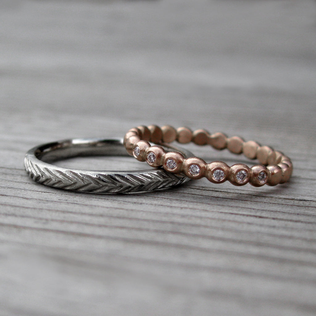 Diamond Seedling Band & Feather Wedding Band Set | Kristin Coffin Jewelry