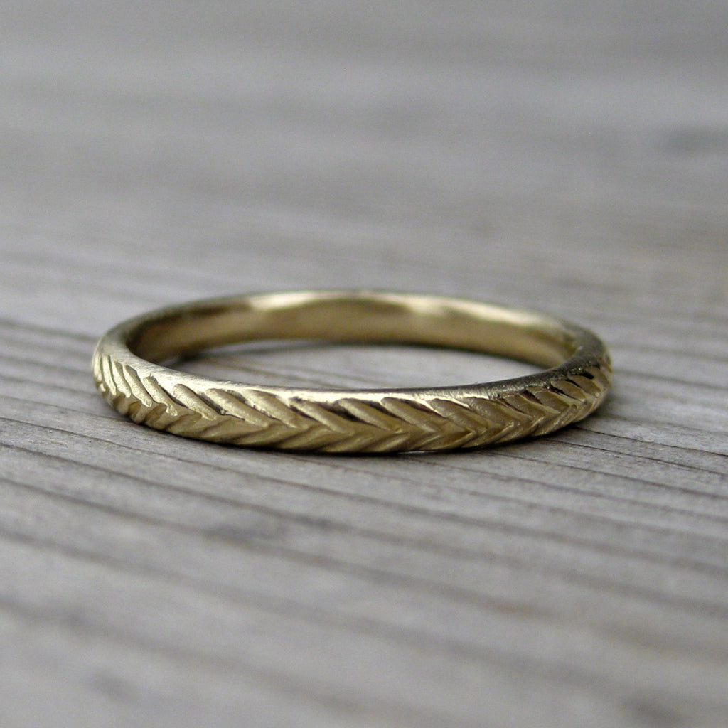 Feather Wedding Band | Recycled Gold | Kristin Coffin Jewelry