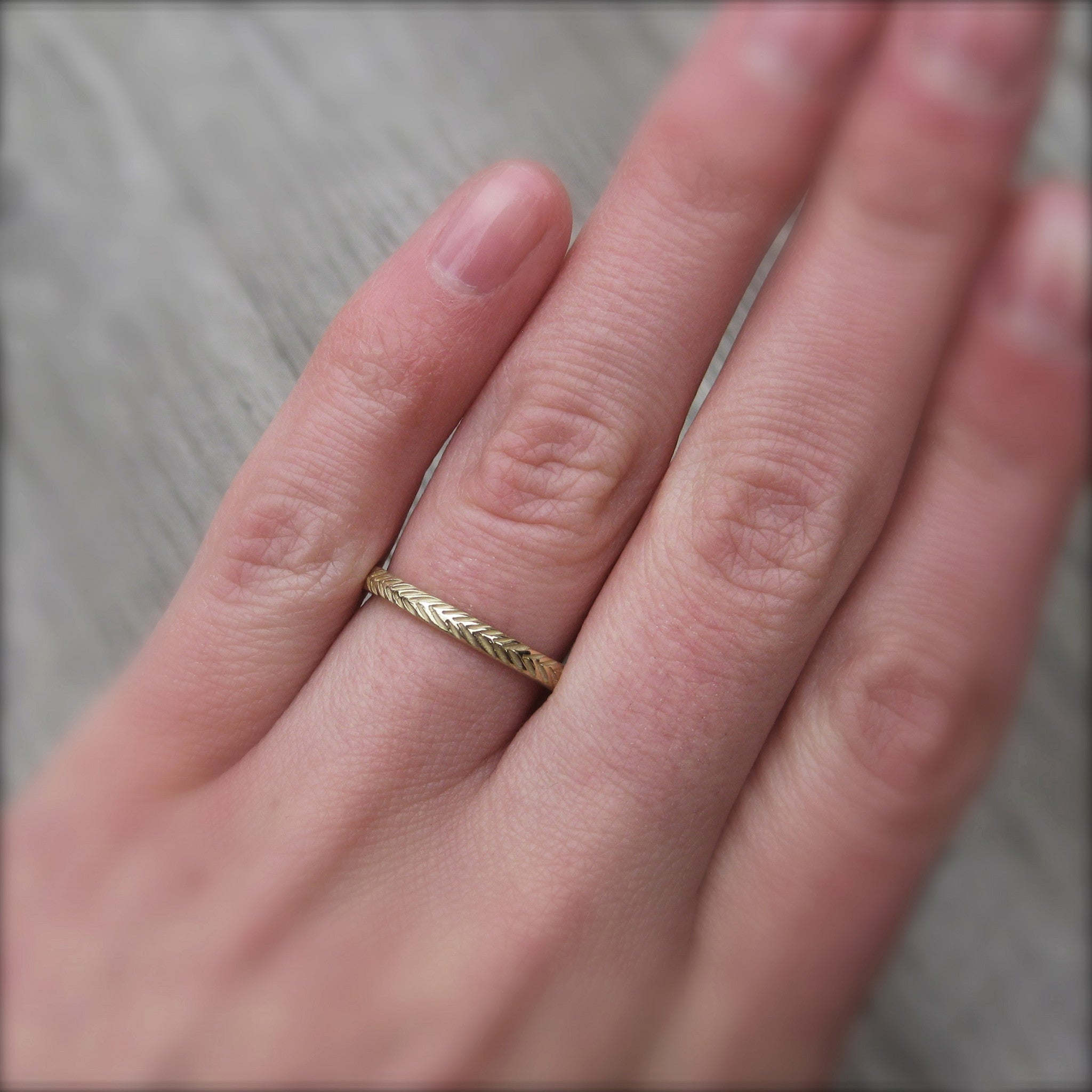 Feather Wedding Band Set | Recycled Gold | Kristin Coffin Jewelry