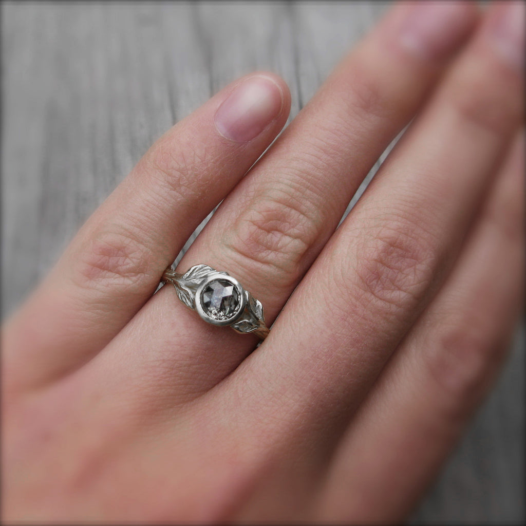 Build Your Own: Rose Cut Diamond Twig & Leaves Ring