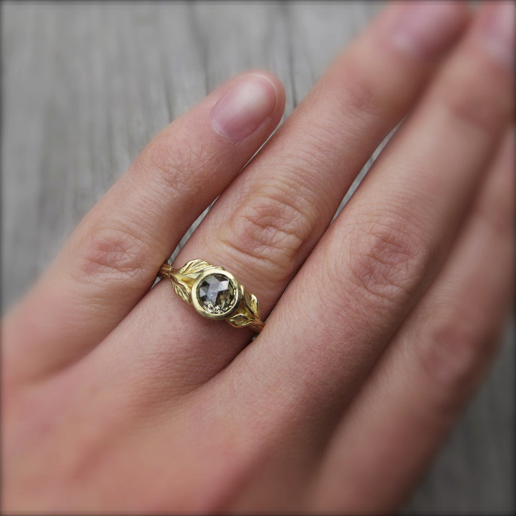 <center><strong>・HAZEL・</strong><br></center> Build Your Own: Rose Cut Diamond Twig & Leaf Ring