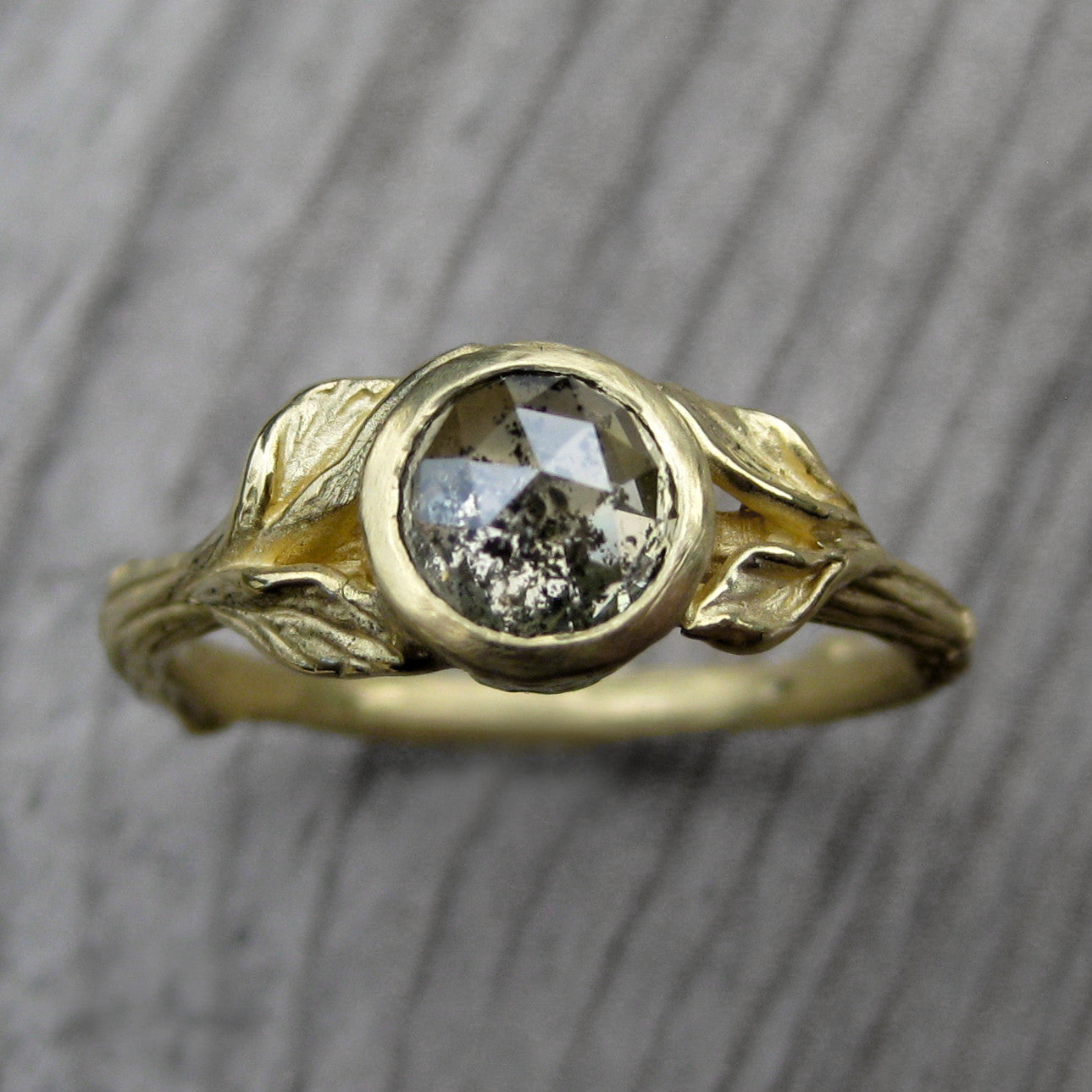 Build Your Own Rose Cut Diamond Twig Leaves Ring Kristin
