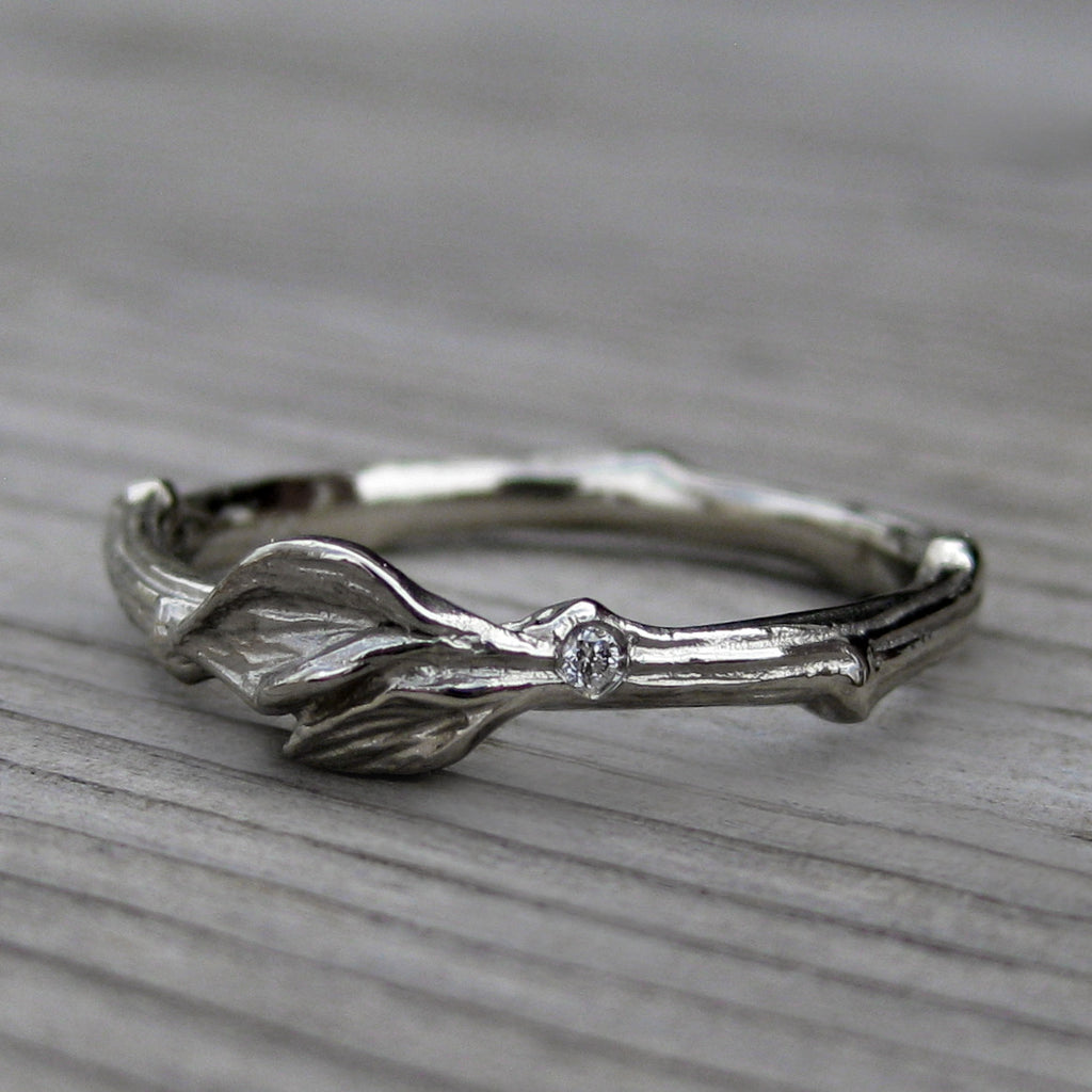 Twig Wedding Band with Leaves & Single Diamond | Kristin Coffin Jewelry