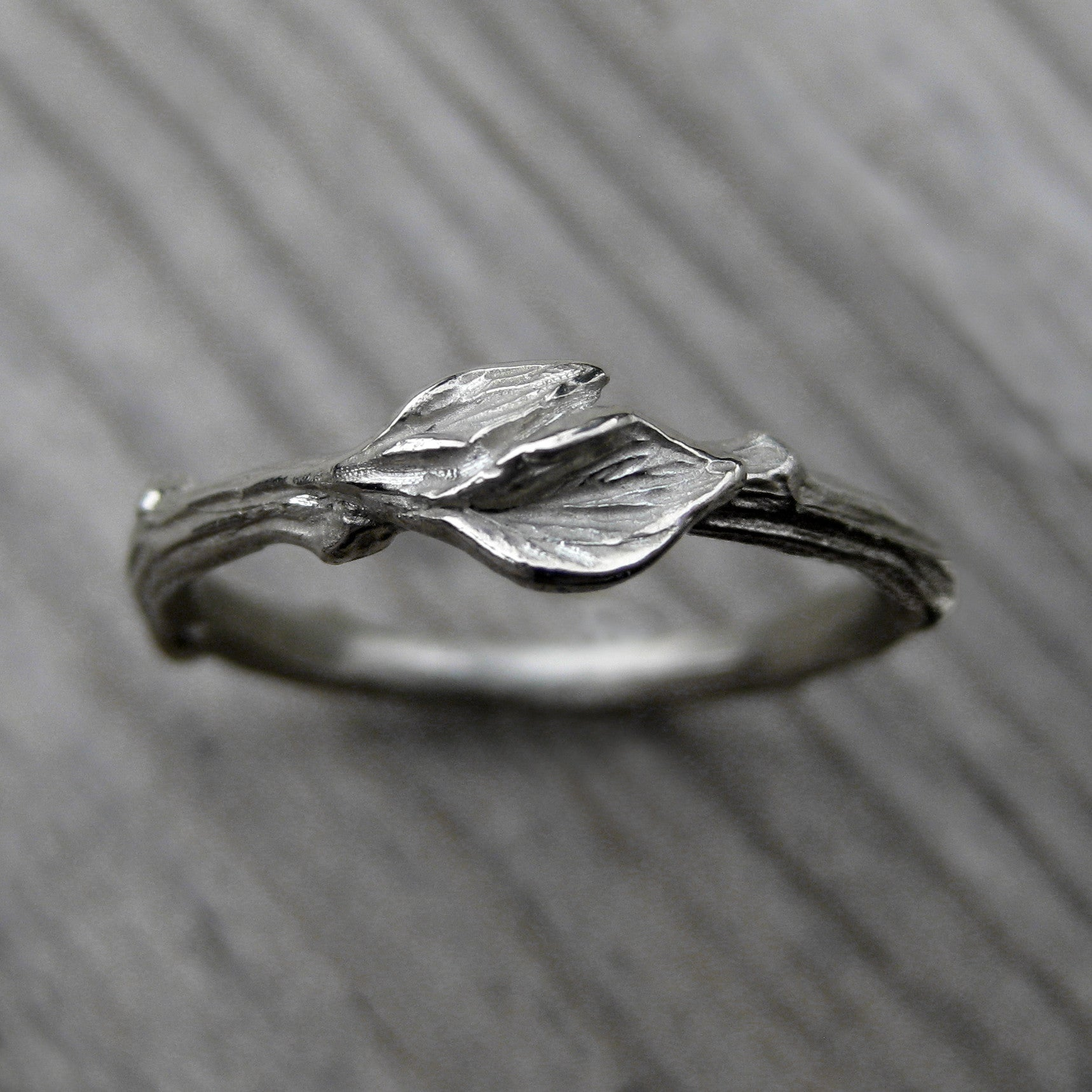 twig leaf band - Leaf Wedding Ring