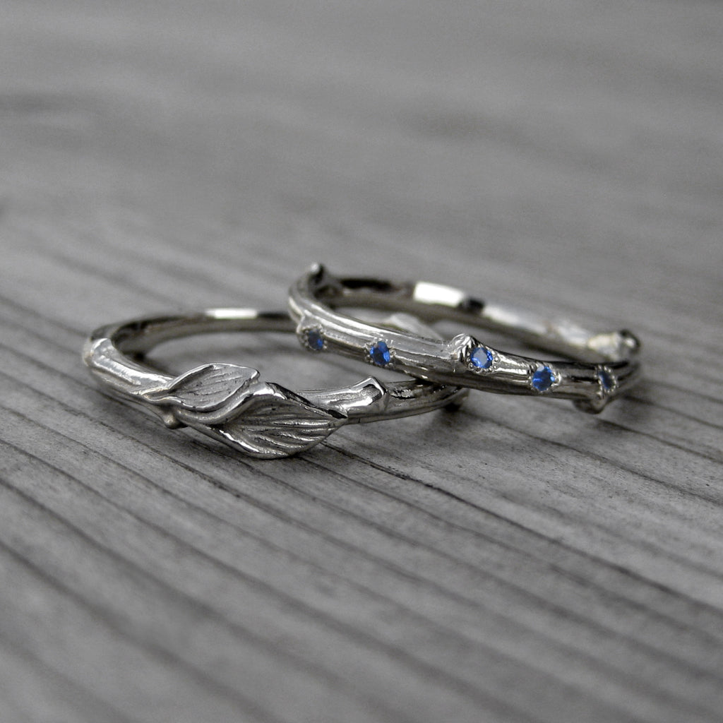 Sapphire Branch & Twig with Leaves Band Set | Kristin Coffin Jewelry