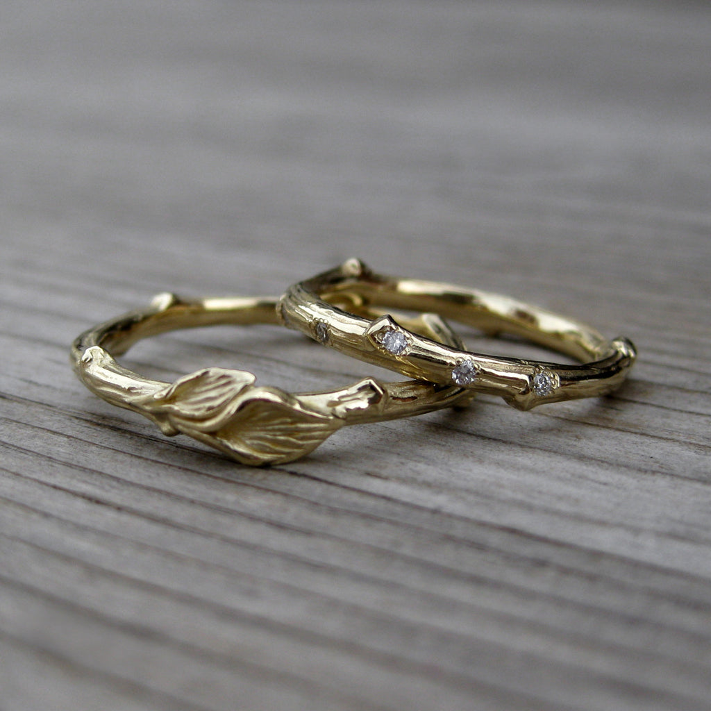 Diamond Branch & Twig with Leaves Band Set | Kristin Coffin Jewelry