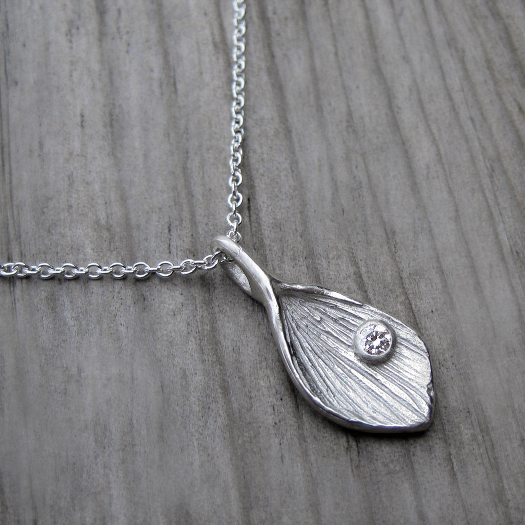 Lotus Petal Diamond Pendant, Sterling Silver | Kristin Coffin Jewelry