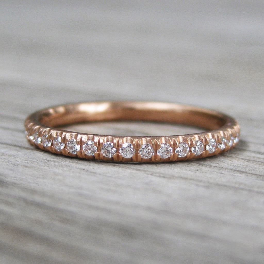 Pavé Diamond Eternity Wedding Band, Rose Gold (Ready to Ship, Size 5.75)