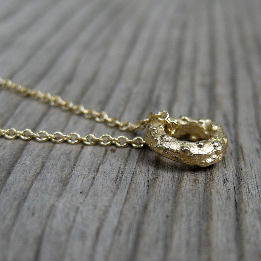 Petite Twig Circle Necklace (White, Rose, or Yellow Gold)