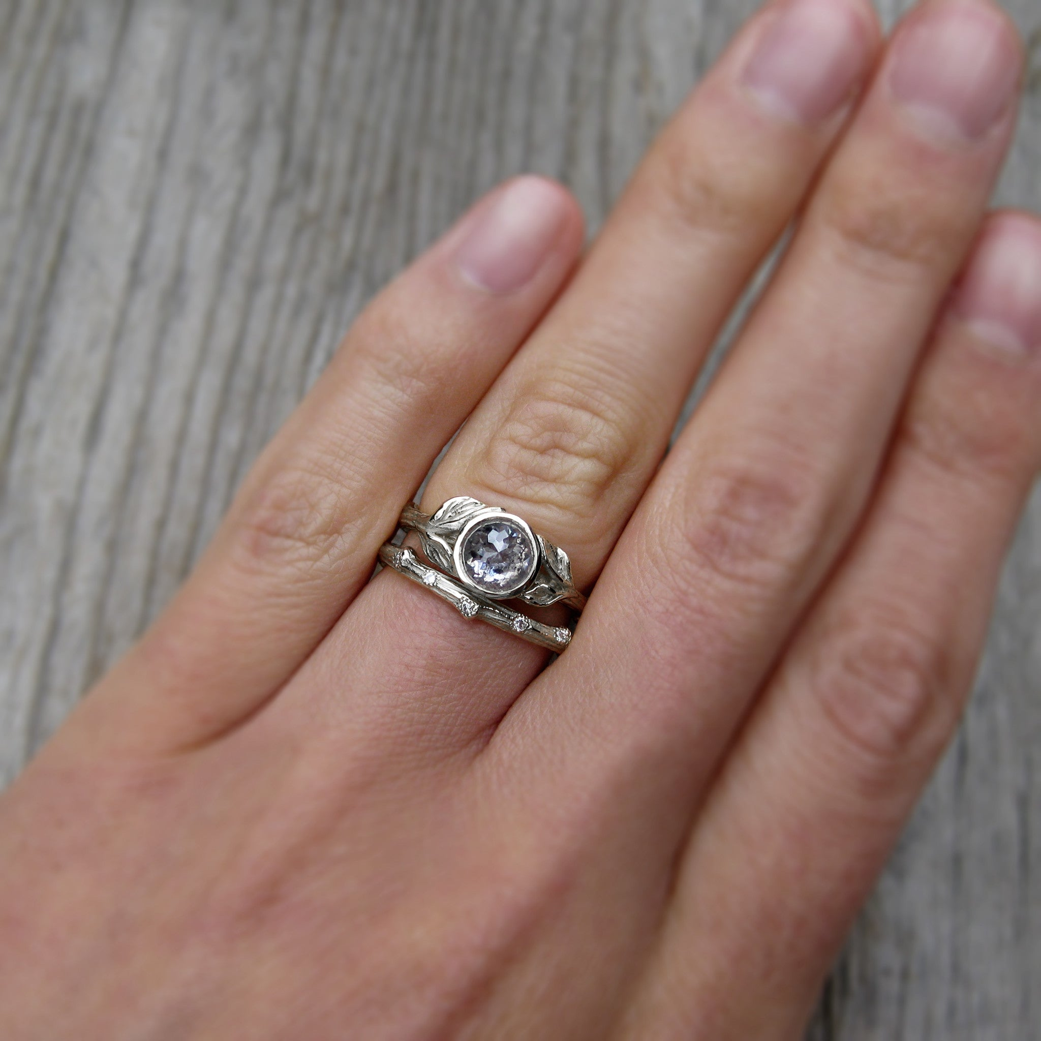 build your own rose cut diamond twig leaves ring - Build Your Own Wedding Ring