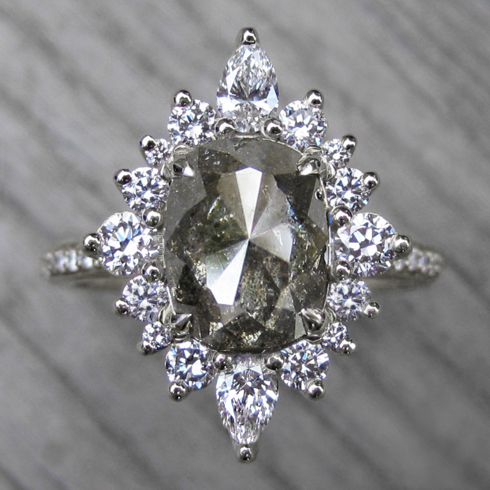 <center><strong>・ANIKA・</strong><br></center>Smokey Rose Cut Diamond Center, Diamond Halo (2.43ctw, Ready to Ship)
