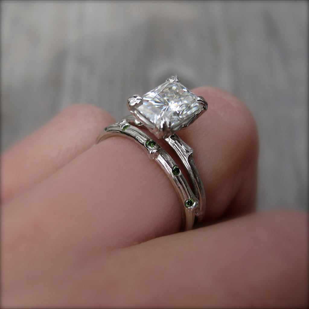 Radiant Forever Brilliant Moissanite Twig Engagement Ring, Carved Floral Setting (1.7ct)