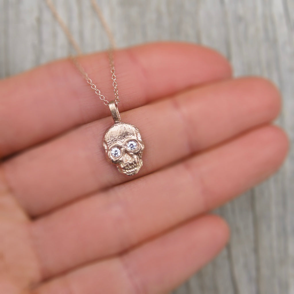 Diamond Eyes Gold Skull Necklace Oxidized Sterling Silver