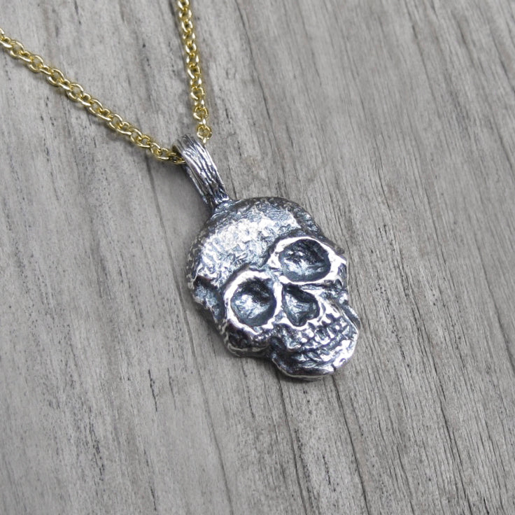Gothic jewelry Biker jewelry Memento mori pendant Solid Silver skull pendant with oxidised textures Silver skull necklace for men