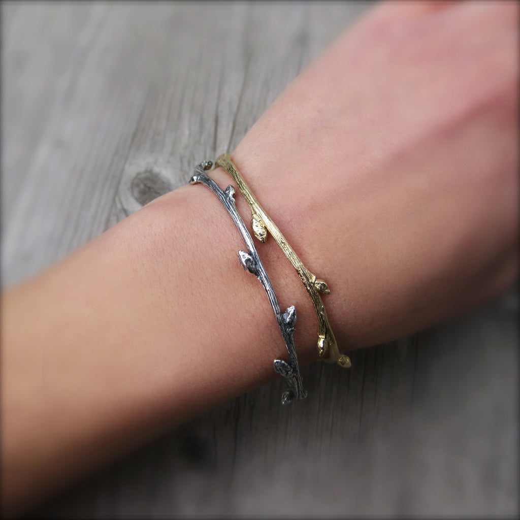 Branch Bangle Bracelet, Sterling Silver or Gold | Kristin Coffin Jewelry