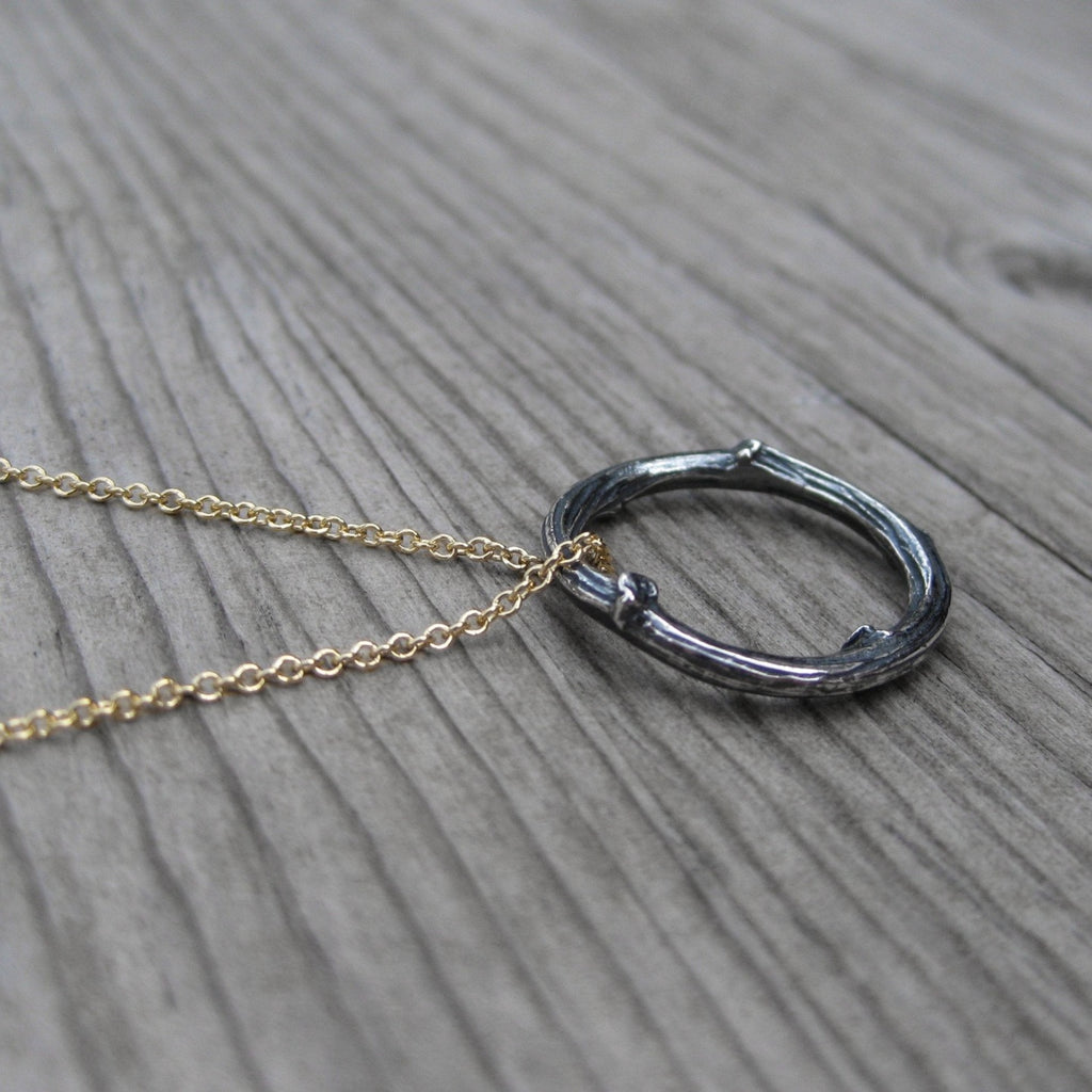 <center><strong>・TWIG NECKLACE・</strong><br></center> Sterling Silver Twig, Gold-Filled Chain (Ready to Ship)