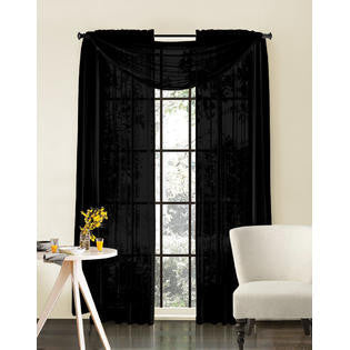"Solid 84"" Length Sheer Panel - Black"