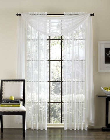 "Solid 84"" Length Sheer Panel - White"