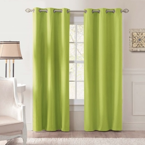 Thermal 2-Piece Blackout Grommet Curtain Faux Silk - Lime