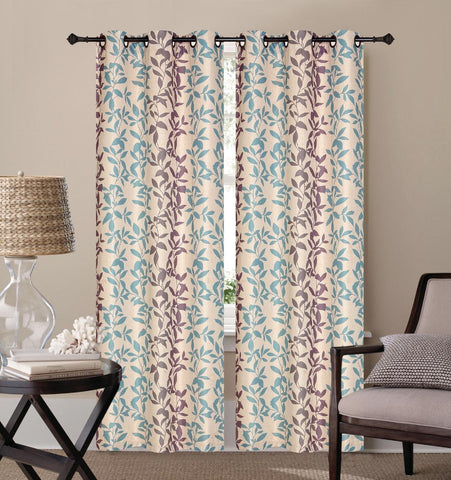Annabel Printed Linen 2-Piece Curtain Set - Blue & Purple
