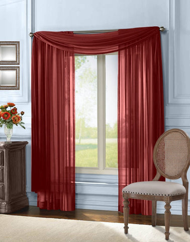 Solid Sheer Curtain Window Scarf - Burgundy – Empire Home Fashion ...