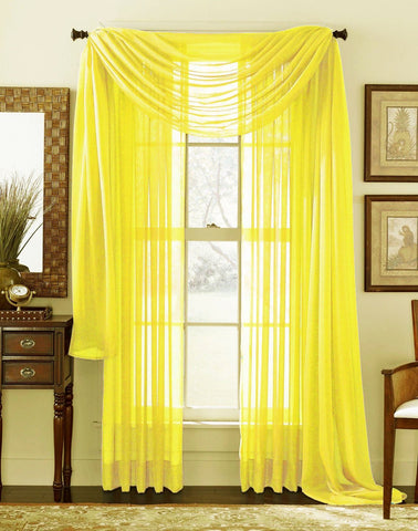 "Solid 84"" Length Sheer Panel - Bright Yellow"