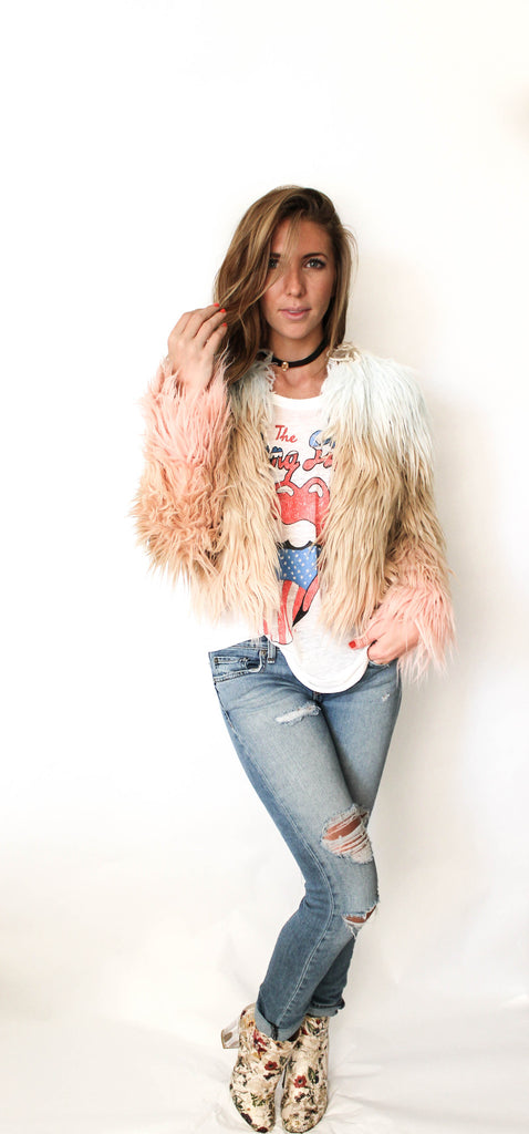 Stone Cold Cotton Candy Fur Jacket - Emilia