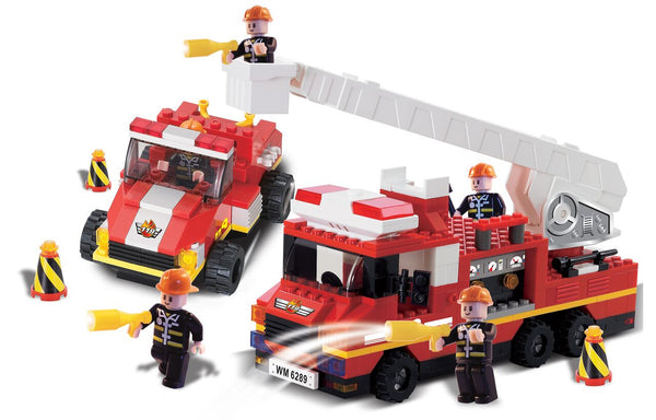 FIRE ENGINE AND ROAD CAR WITH SOUND AND LIGHT By BricTek - Bloxx Toys - Toronto Online Toys Store - 2
