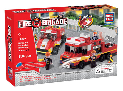 FIRE ENGINE AND ROAD CAR WITH SOUND AND LIGHT By BricTek - Bloxx Toys - Toronto Online Toys Store - 1