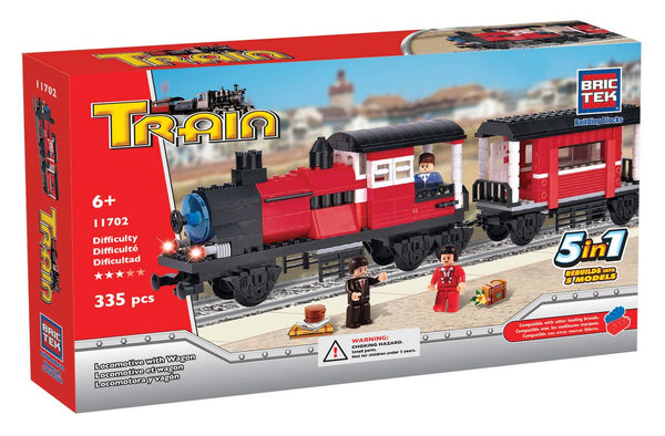BRICTEK- 5 IN 1 LOCOMOTIVE WITH WAGON - Bloxx Toys - Toronto Online Toys Store - 1