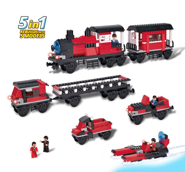 BRICTEK- 5 IN 1 LOCOMOTIVE WITH WAGON - Bloxx Toys - Toronto Online Toys Store - 3