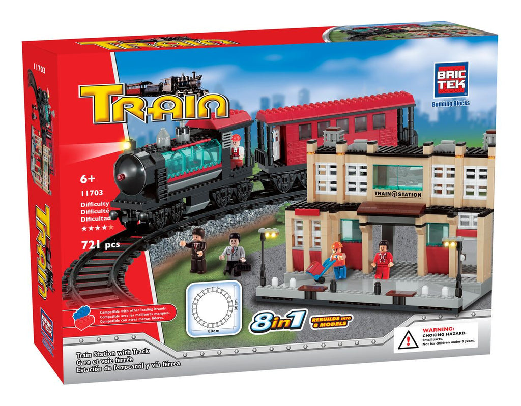 BRICTEK- TRAIN STATION WITH TRACK 8 IN 1 - Bloxx Toys - Toronto Online Toys Store - 1
