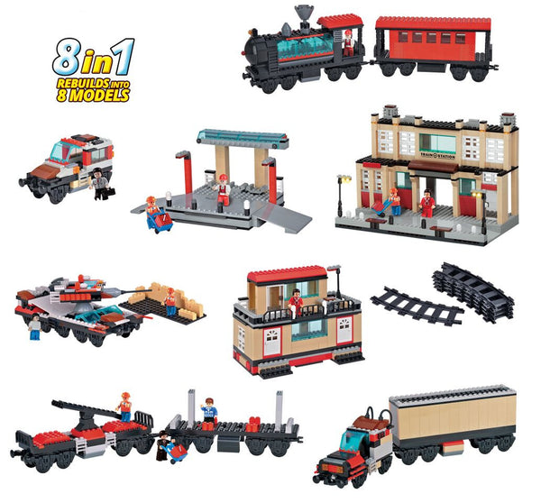 BRICTEK- TRAIN STATION WITH TRACK 8 IN 1 - Bloxx Toys - Toronto Online Toys Store - 3