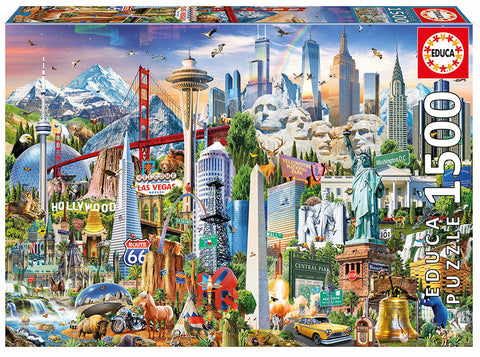 1500 pieces puzzle - North America Landmarks By Educa