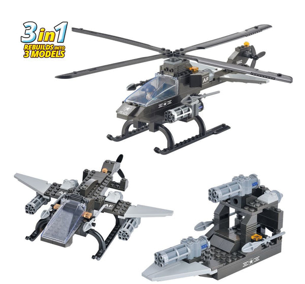 BRICTEK ATTACK HELICOPTER 3 IN 1 - Bloxx Toys - Toronto Online Toys Store - 2