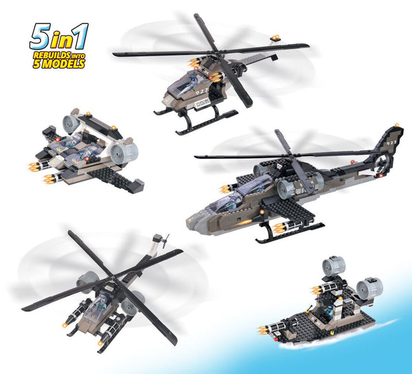 AIR FORCE APACHE HELICOPTER 5 IN 1 By BricTek - Bloxx Toys - Toronto Online Toys Store - 2